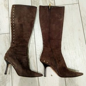 Jimmy Choo brown suede studded boots